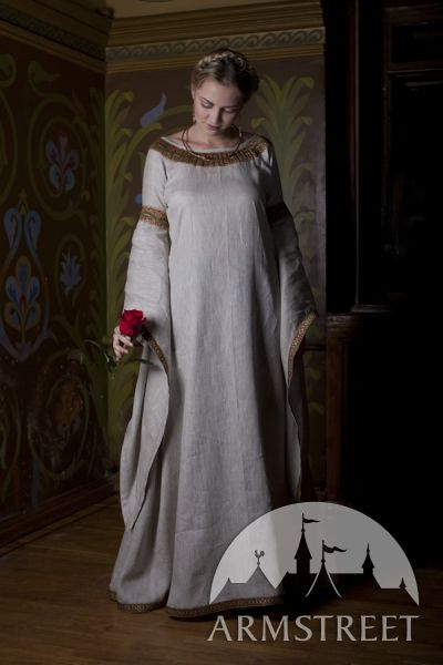 "Medieval Natural Linen Tunic Dress ""Anne of Kiev"" - Armstreet"