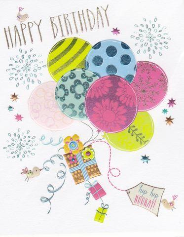 Balloons & Birds Birthday Card