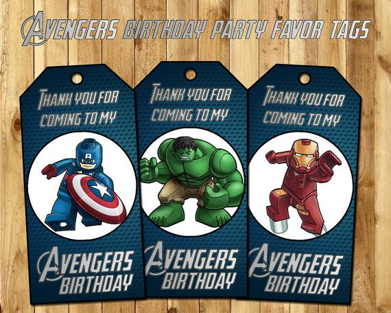 Avengers Favor Tags  Lego Avengers Birthday Party by InstaBirthday