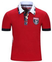Turn-Down Collar Badge Embroidered Camo Spliced Short Sleeve Polo T-Shirt For Men - RED