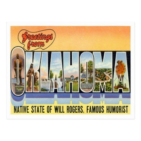 Oklahoma Vintage Tourist Postcard | Zazzle com | Vintage