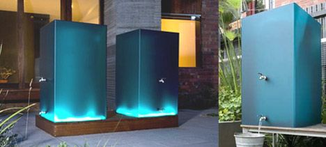 "Architect Katrina Logan's Lumi rainwater storage tanks are satin acrylic shapes that glow in the sun and are illuminated at night from within. Light passing through shows the water level, and Logan envisions them on the balconies of high rise developments. The Lumi can come in a variety of colors or patterns (including commercial ""wraps"") and sizes ranging from 250 to 1100 liters."
