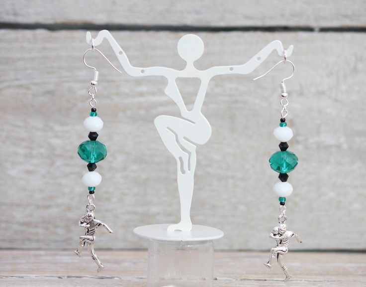 Excited to share the latest addition to my #etsy shop: Green, White and Black Football Team Color Dangle Earrings.  Philadelphia Eagle. Leverback Earring Hooks. Handmade Jewelry. #jewelry #earrings #green #sports #white #earwire #madeinusa #teamcolorjewelry #lowcostjewelry