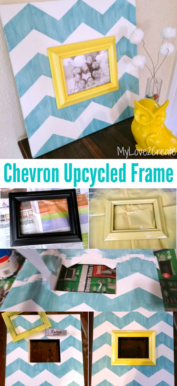 DIY Chevron Upcycled Picture Frame | OHMY-CREATIVE.COM