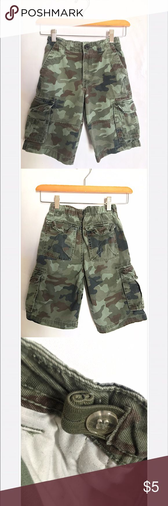 Cherokee Boys Cargo Camouflage Shorts Size 8 Cherokee Size 8 Camo Cargo Shorts w/ Adjustable Elastic Band on inside. In good condition and worn twice. Cherokee Bottoms Shorts