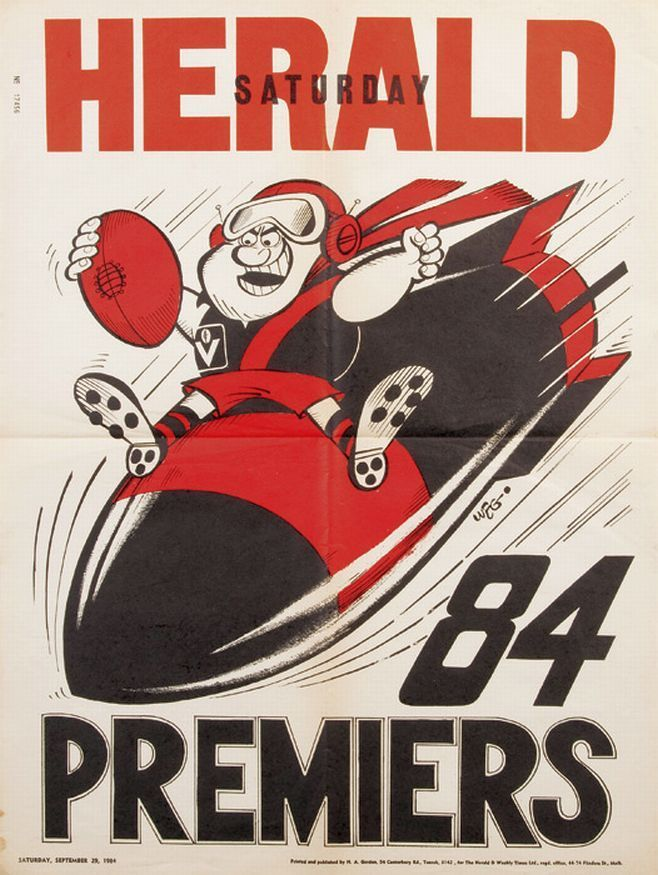 Weg & Newspaper Posters: 1984 Essendon original Weg poster;… - Sporting - AFL/VFL - Memorabilia - Carter's Price Guide to Antiques and Collectables