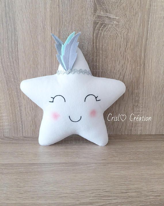Material: felt and cotton fabric. Please, select the color of the star key To customize the feathers, just send me a message. Size: 23 / 23cm Due to the sensitivity of the material and sewing the item should be used for decoration. Perfect for decorating a layer. For all the changes