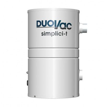 Duovac Simplici-T 2.72-Gallon System: For Homes Up To 3,500 Sq Ft. The Duovac Simplici-T is a compact powerful central vacuum system that is suitable for homes up to 3,500 square feet. This powerful 642 air watt motor allows this unit to have maximum power in a compact unit, making it perfect for not only homes, condos, apartments, but even boats and RVs.