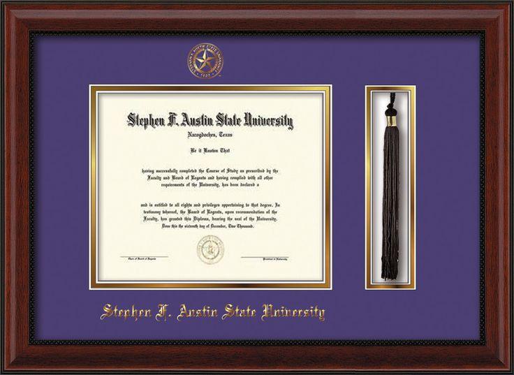 Stephen F. Austin Diploma Frame - Mahogany Bead - Tassel - Purple/Gold – Professional Framing Company