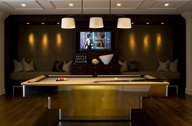 Suzie: Ted Yarwood - Gold pool table, espresso brown media unit, flat screen TV, built-ins ...