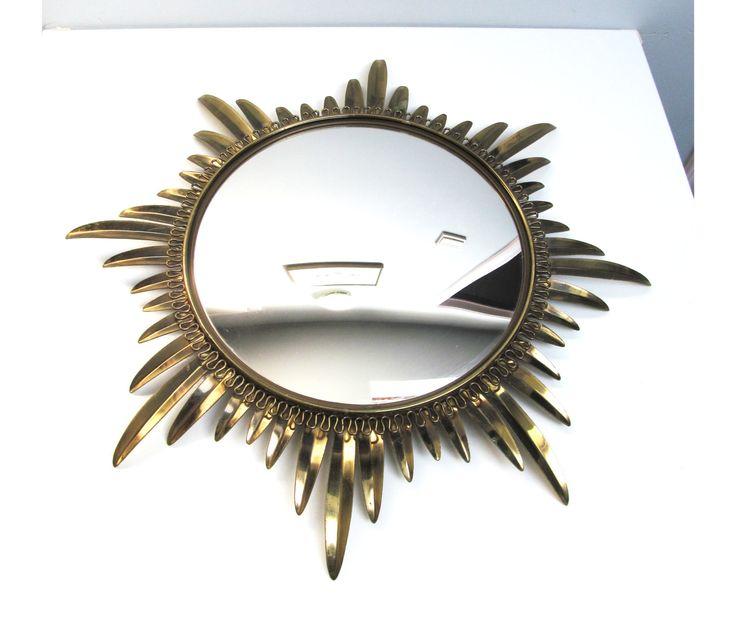 Large Vintage mid century retro convex mirror, flower convex mirror sunburst mirror flower mirror starburst mirror atomic Belgium mirror by EbyVintage on Etsy