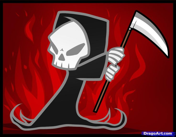 how to draw a grim reaper for kids