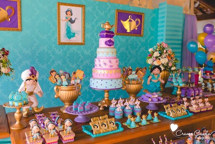 Love this sweets table from Colorful Princess Jasmine Birthday Party at Kara's Party Ideas. See more at karaspartyideas.com!
