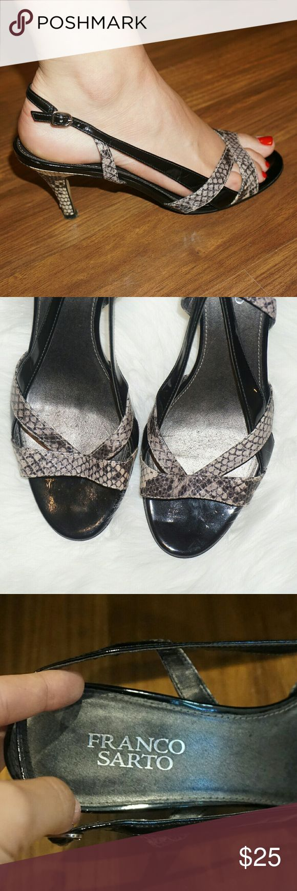 Franco Sarto black and snakeskin heels Super cute, great condition Franco Sarto black and snakeskin heels with adjustable strap Franco Sarto Shoes Heels
