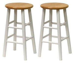 "Winsome Natural & White 24"" Basic Bar Stools Set of 2"