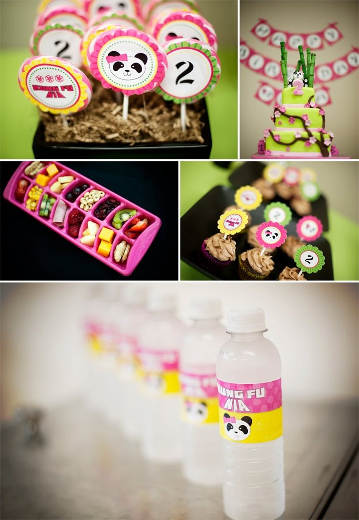 Kung Fu Panda Girl Birthday Party ~ Kung Fu Alij water bottles@Leslie Mullett*I know she doesn't want Kung Fu panda--but you may get some cute ideas from this :)