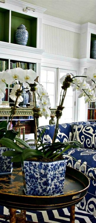 Twilight Tide - love the play upon textures & patterns; chic accessories & that perfect shade of green lining the back of the bookcases! Really like the blue & white upholstery!