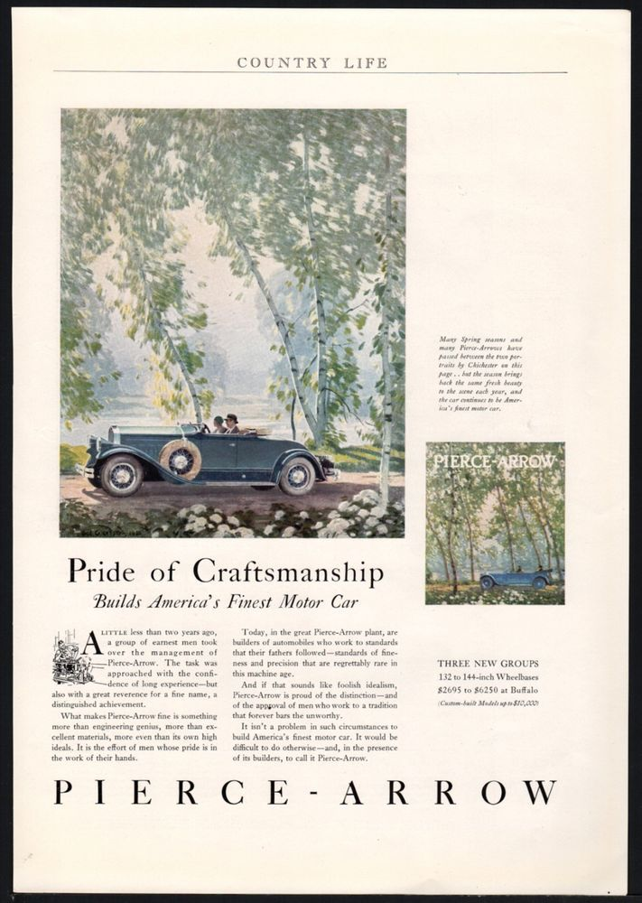 1930 PIERCE ARROW Green Convertible Antique Car AD Art by Chichester