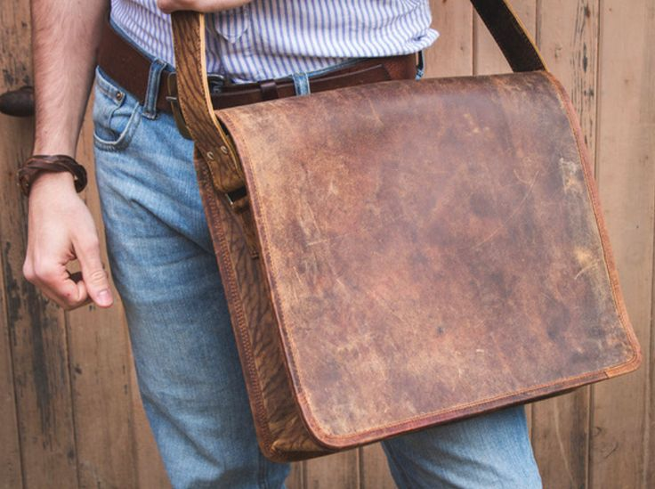 Our 15-inch men's leather messenger bag is made from our unique distressed buffalo brown leather. #leather #leatherbag #gifideas #originalgift