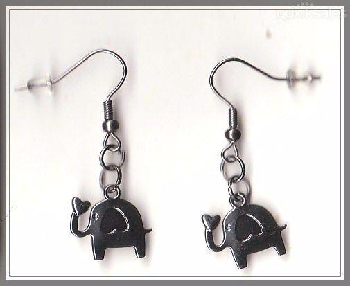 Elephant Charm Gunmetal Grey Earrings  by MadAboutIncense - $9.50