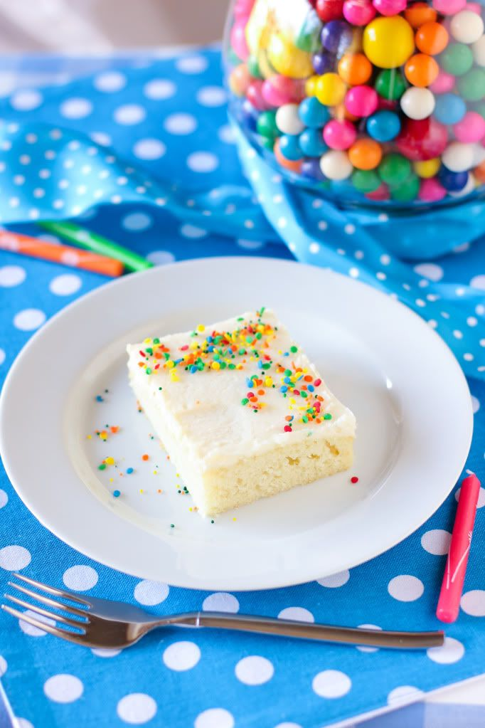 White Sheet Cake with Fluffy Whipped Icing