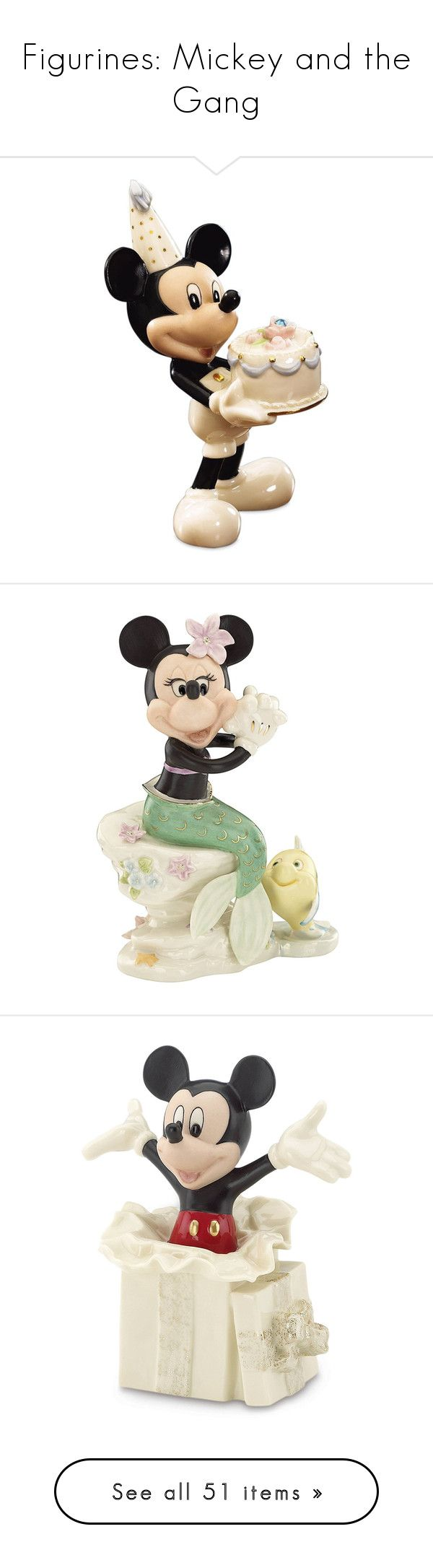 """Figurines: Mickey and the Gang"" by elli951 ❤ liked on Polyvore featuring home, home decor, disney figure, mermaid home decor, disney figurines, mermaid figurines, disney home decor, ivory, ivory sculpture and gold home accessories"