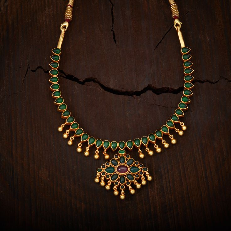 South Indian Traditional Silver Temple Jewellery Reversable  Necklace, Studded with spinal stones made in Pure Silver.