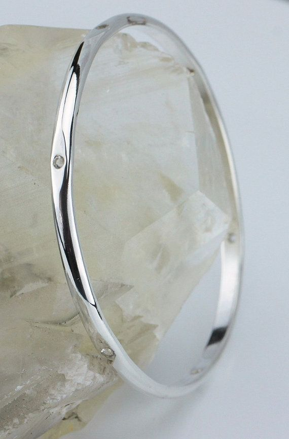"LJ Jewellery - Sterling Silver Bangle set with 6 White Topaz - 65mm (2.55"")"