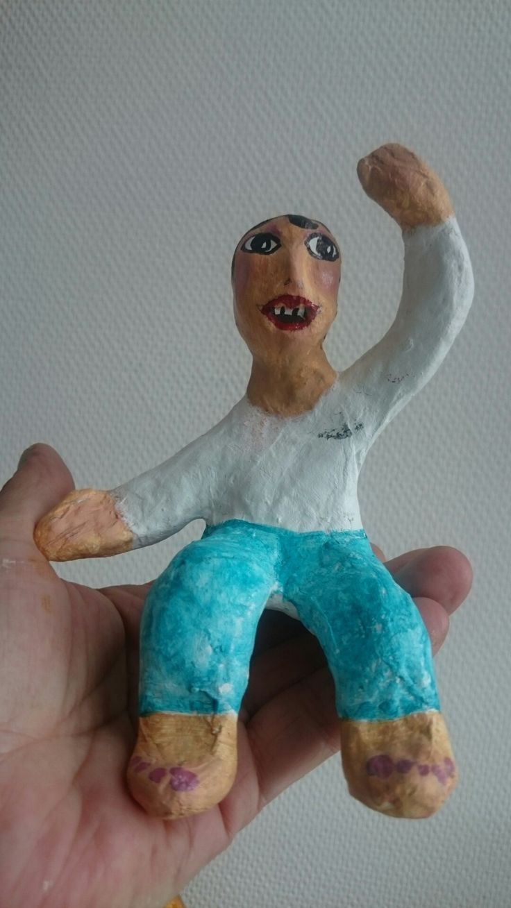 Papermache, one of my first. Ment to sitt on a shelf