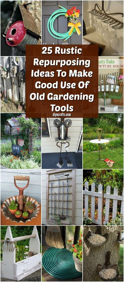 25 Rustic Repurposing Ideas To Make Good Use Of Old Gardening Tools via @vanessacrafting