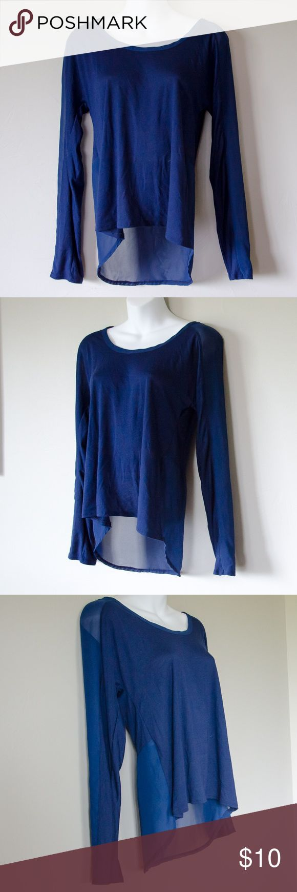 Hi-Low Sheer Detail Shirt Excellent condition soft and lightweight mixed media hi-low top. Sheer accents on sleeve and lower part of back. Beautiful blue color! Perfect for spring or cooler summer days. Converse Tops Tees - Long Sleeve