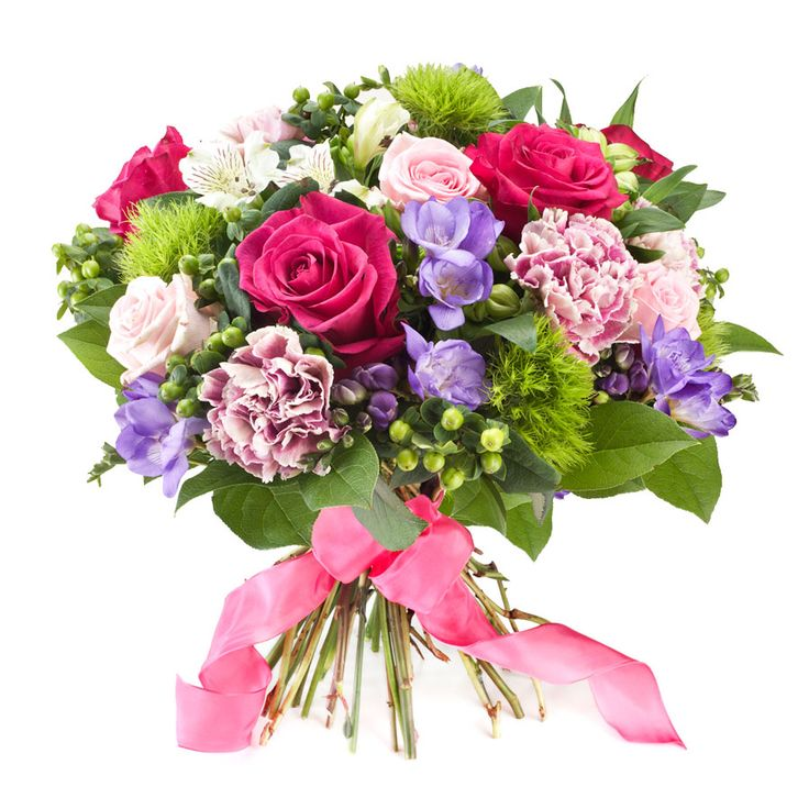Tenderness Prestige bouquet. We have selected this charming bouquet in tender pink and green colours. A lovely bouquet with Purple Power roses, freesia, carnations, and much more will convey all your affection. (45 cm) - Delivery in Belgium by GiftsForEurope