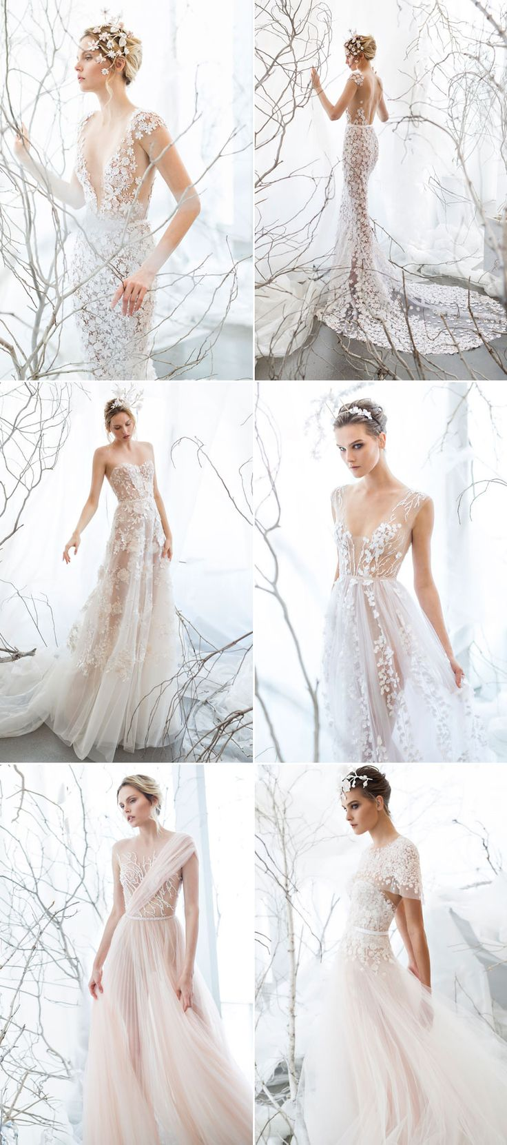 A whimsical take on the traditional wedding dress. This elegant, lacy dress is perfect for your woodland or ethereal wedding. See more wedding dress ideas here: https://www.praisewedding.com/archives/2722
