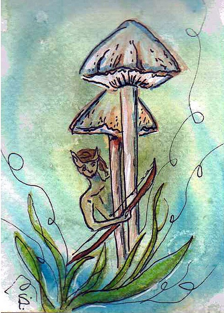 Elf Hunt    Pre-made background watercolor then watercolor over it with ink pen.Ink Pens, Backgrounds Watercolors, Book Inspiration, Pre Mad Backgrounds, Elf Hunting, Art Projects, Artists Trade, High Schools, Hunting Pre Mad