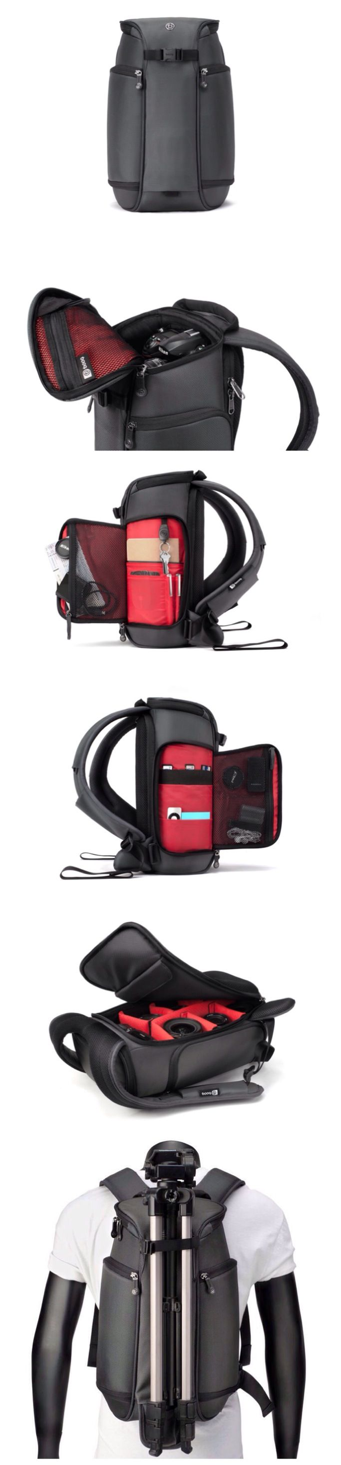 """Booq Python Slimpack -   Python slimpack is a compact backpack designed for 1-2 DSLRs, up to 4 mid-size lenses, 1 large zoom lens, tripod, plus a 10"""" iPad."""