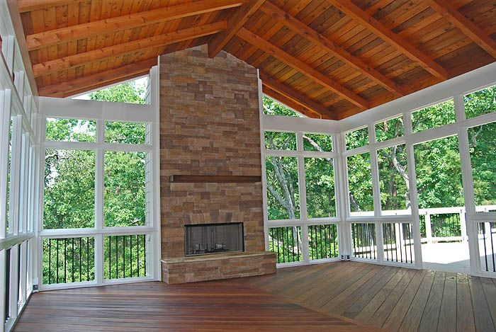 screened in decks | Woodstock, GA - Screened Porch with Cumaru Decking and Fireplace