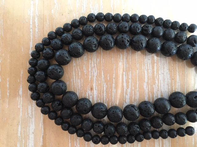 Lava Stone - 4, 6 & 8mm beads