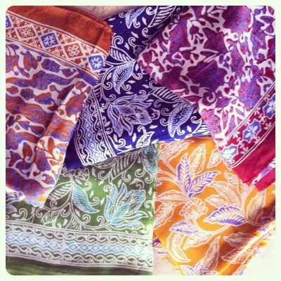 Silk batik scarves available from https://www.facebook.com/GarooTradingCompany