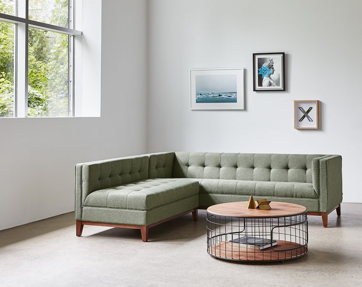 Atwood Bi-Sectional - Parliament Moss & Wireframe Coffee Table | Gus* Modern
