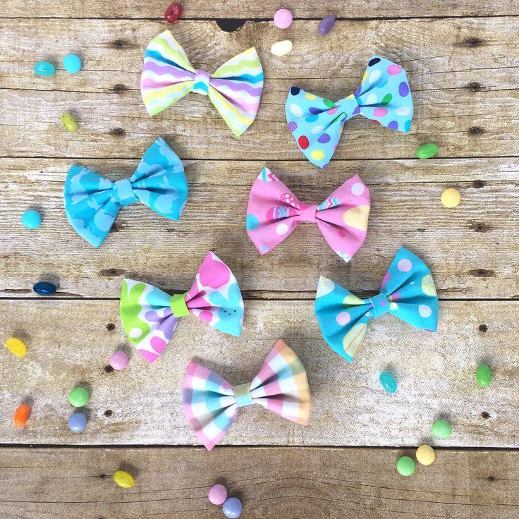 Easter Bows, Easter Basket Stuffer Girl,  Baby Easter Bows, Sister Easter Bows, Matching Easter Outfits, Easter Headband, Easter Bunny Gift by KristieLeighDesigns on Etsy https://www.etsy.com/listing/499520718/easter-bows-easter-basket-stuffer-girl