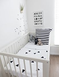 CarlijnQ - Crib blanket - Triangle Striped duvet covers, wall stickers and poster also available