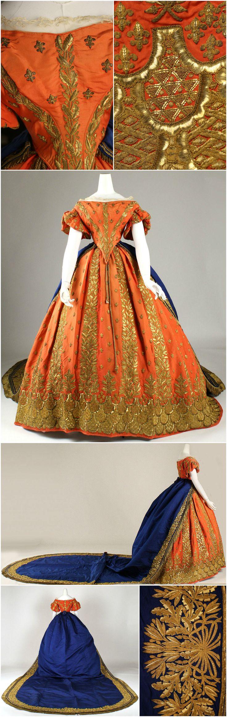 Court ensemble, Italian, 1857-60, at the Metropolitan Museum of Art. Silk, gold. CLICK THROUGH FOR BIGGER IMAGES.