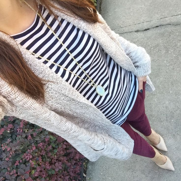 Fall Work Outfit | Striped Tee | Burgundy Pants | Houston Fashion Blog Lady in Violet