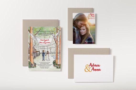 Custom Watercolor Portrait Wedding Invitation by bensonbensonco.com