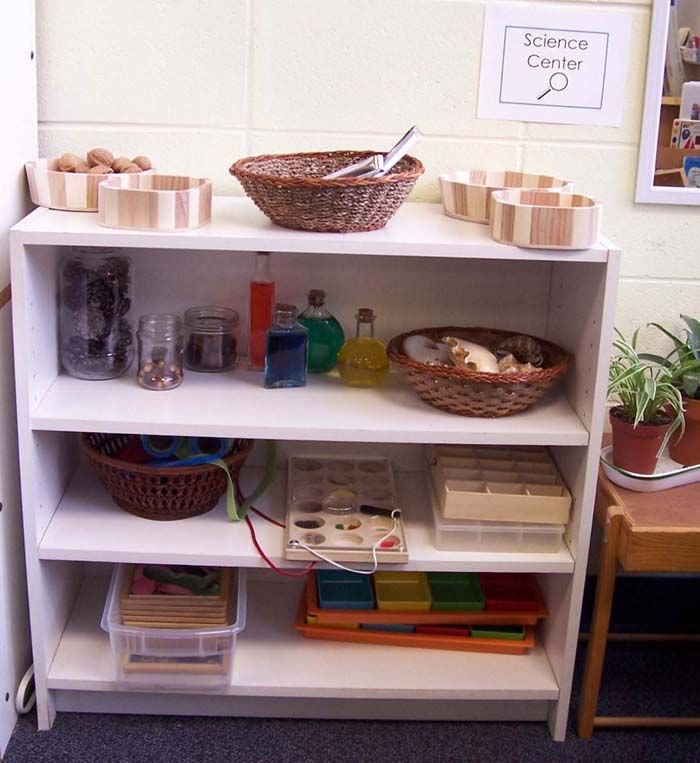 Lots of ideas for activities and items to go in your science center.  Great ideas if you have bare shelves or the kids just never seem to interested in that area.
