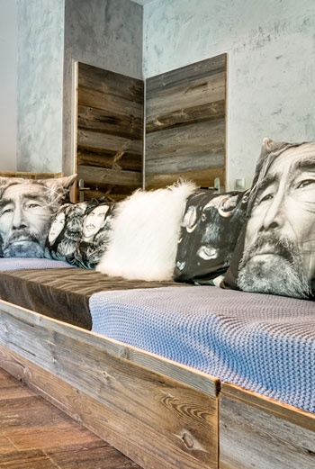 reclaimed wood in high-end décor • La Bergerie du Miravidi—a designer ski chalet and ecolodge in the French Alps, Europe