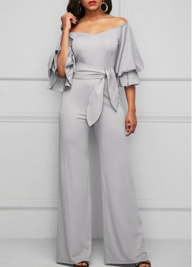 01d1be6b9d1 Layered Sleeve Bardot Light Grey Jumpsuit on sale only US 36.32 now ...