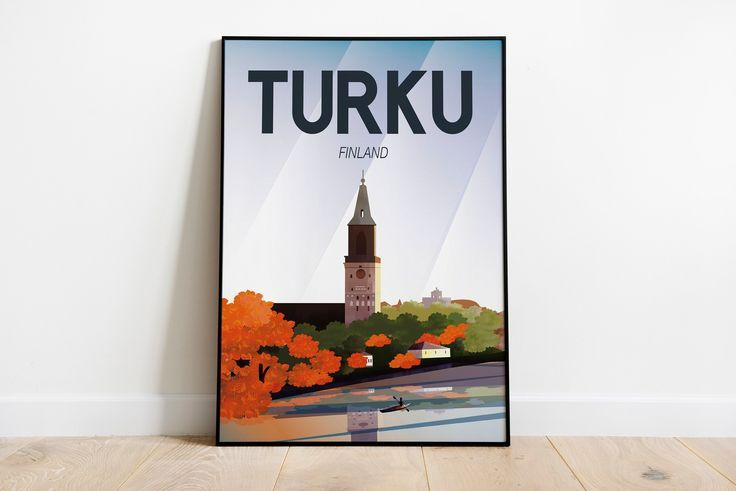 Turku Finland Vintage Travel Poster | Enhanced Mat…