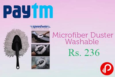 Paytm offers Speedwav Microfiber Duster Washable For Car / Bike / Home Cleaning – Small at Rs. 236 after cashback Rs.315. Paytm Coupon Code – TOOL25  http://www.paisebachaoindia.com/microfiber-duster-washable-for-car-bike-home-cleaning-at-rs-236-paytm/