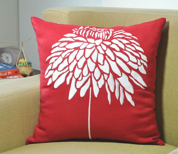 Red Peony Decorative Pillow Cover Red Linen Throw by KainKain